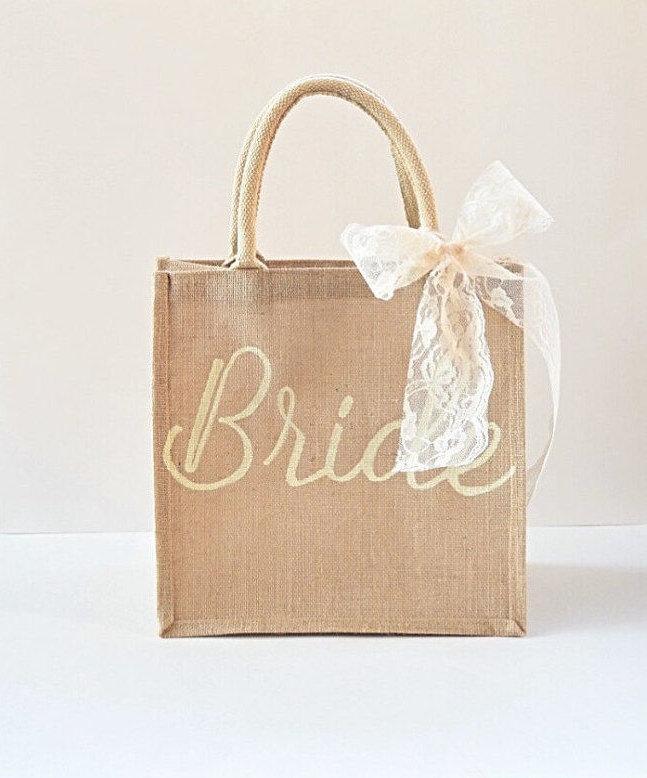 Mariage - Bride Bag- Wedding Bag- Bride Tote- Bridesmaid Gift- Bride Gift- Wedding Tote- Bridal Shower- Personalized Bag- Burlap Tote