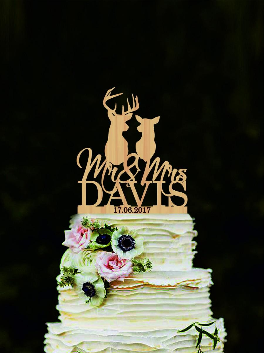 Mariage - Custom deer cake topper, Mr and Mrs name wedding cake topper, Hunting cake topper, Silhouette Doe and Buck cake topper, The Hunt Is Over