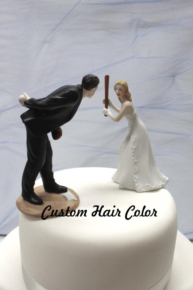 Mariage - Custom Wedding Cake Topper - Personalized Wedding Cake Topper - Baseball Wedding Cake Topper - Baseball - Pitching Groom - Home Run Bride