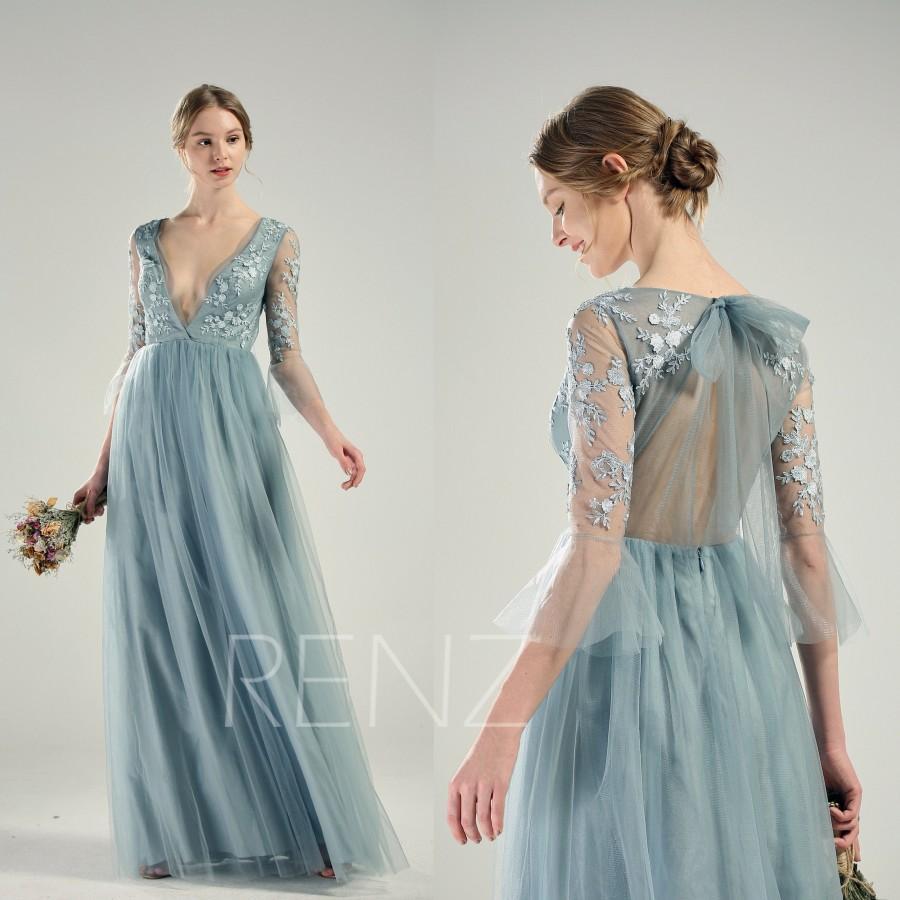 Mariage - Bridesmaid Dress Dusty Blue Tulle Party Dress Long Sleeve Lace Wedding Dress Deep V Neck Prom Dress Key Hole Back A-line Formal Dress(LS586)