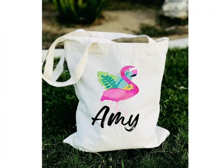 Свадьба - Flamingo tote bag, Bridesmaid flamingo tote bag, personalized flamingo tote, bachelorette flamingo tote bag, flamingo bag, flamingo tote