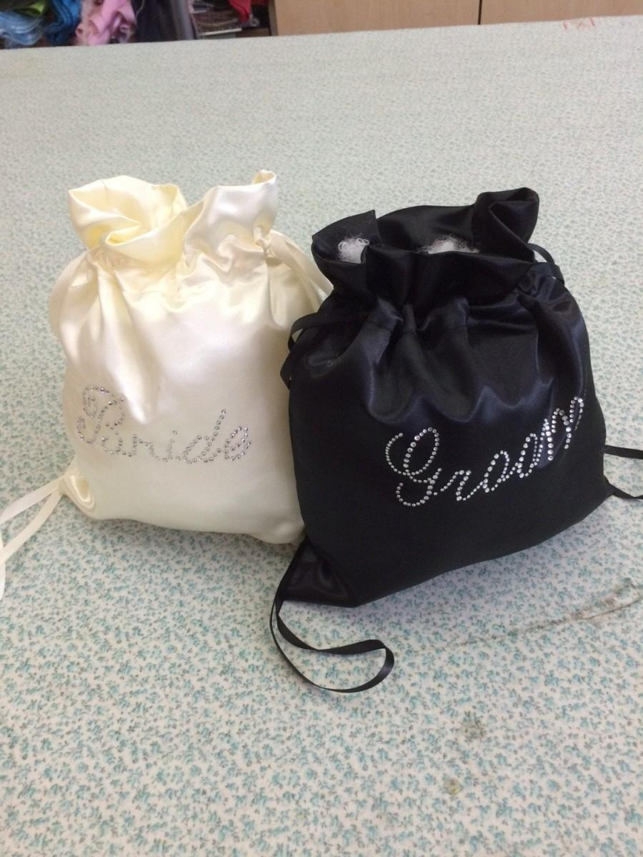 Mariage - Custom Made Money Bag Dollar Dance Set  For Bride and Groom Satin with Rhinestone Accent.