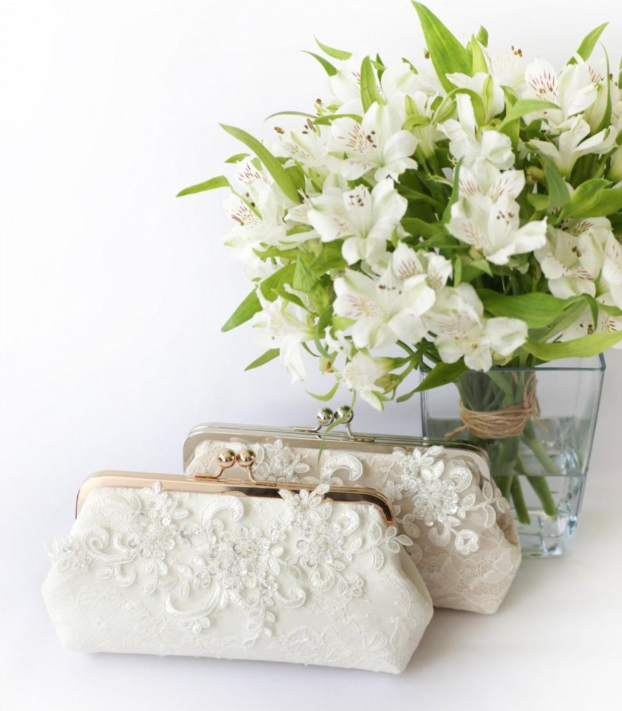 Mariage - Bridal Clutch with Sparkle Sequins Alencon Peonies Lace in ivory and light rose gold