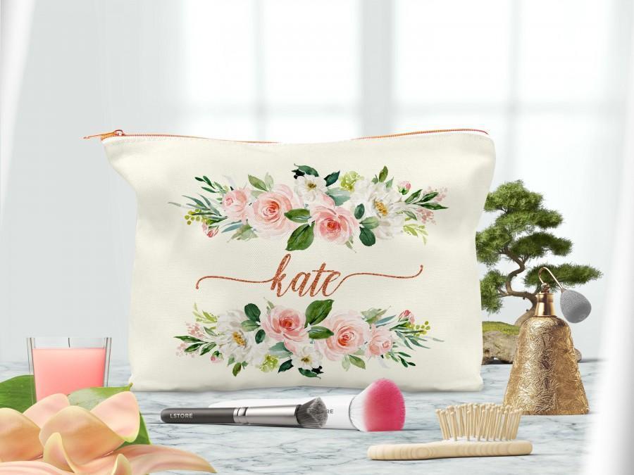 Mariage - Rose gold Cosmetic Bag-Bridesmaid MakeUp Bag-Personalized makeup bag-Bridesmaid Makeup Pouch-Makeup Bag for Bridesmaid-Bridesmaid gift