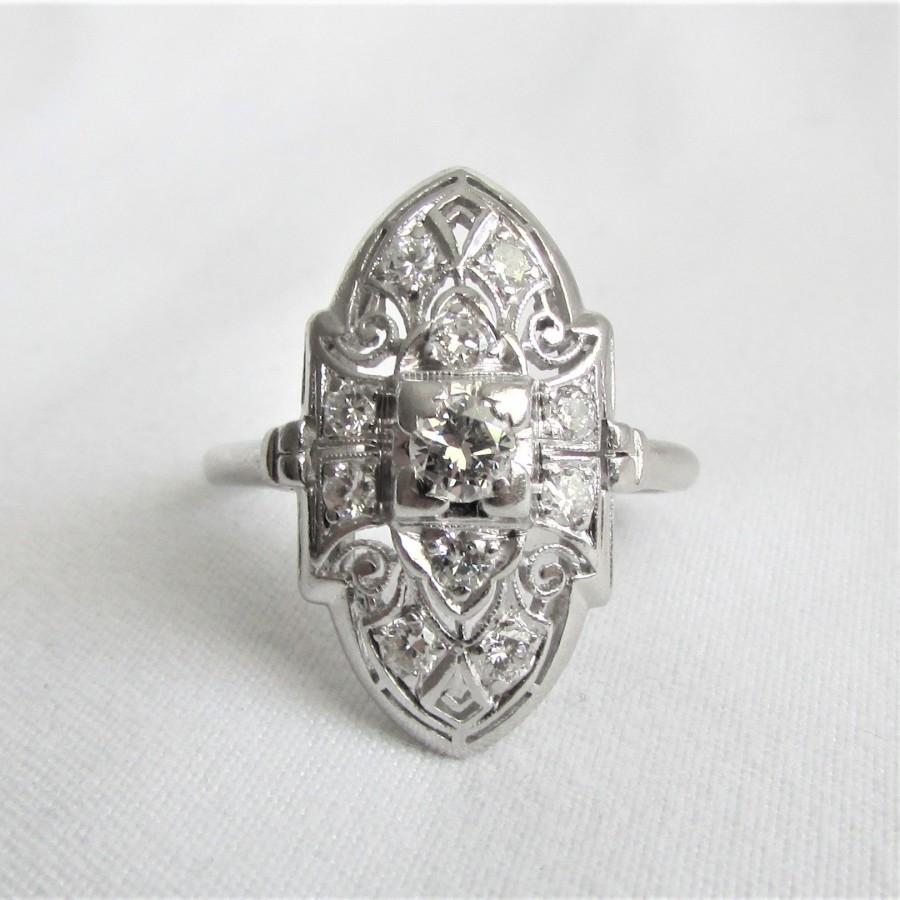 Mariage - PLATINUM and Diamond Antique Cocktail or Dinner Ring - Shield Style Art Deco Ring - GIA G.G. Appraisal Incl 2,360 Usd!