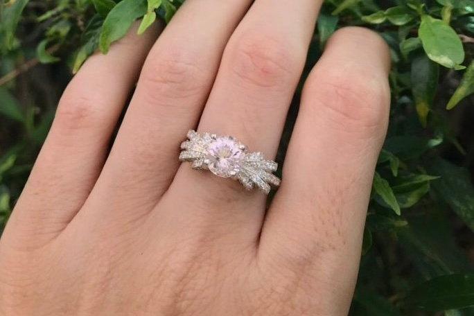 Mariage - Morganite Vintage Engagement Ring- Round Morganite Art Deco Engagement Ring- Pink Gemstone Engagement Ring- Statement Solitaire Ring