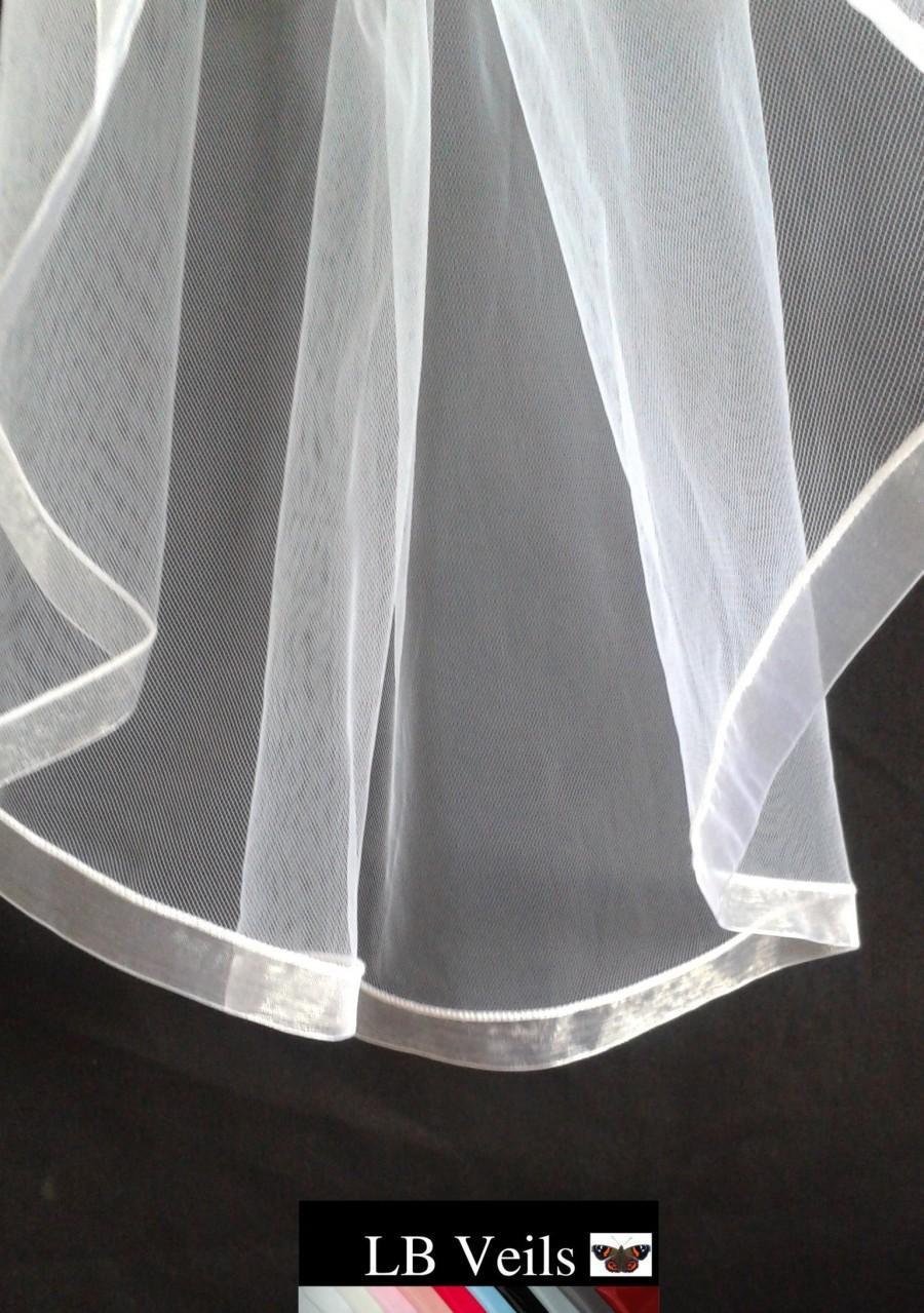 Свадьба - White, Ribbon, Edge, Veil, 1 Tier, Any, Colour, Waist, Length, Organza, Elbow, Fingertip, Short, Wedding, Blue, Bridal, Pink LB Veils LBV183