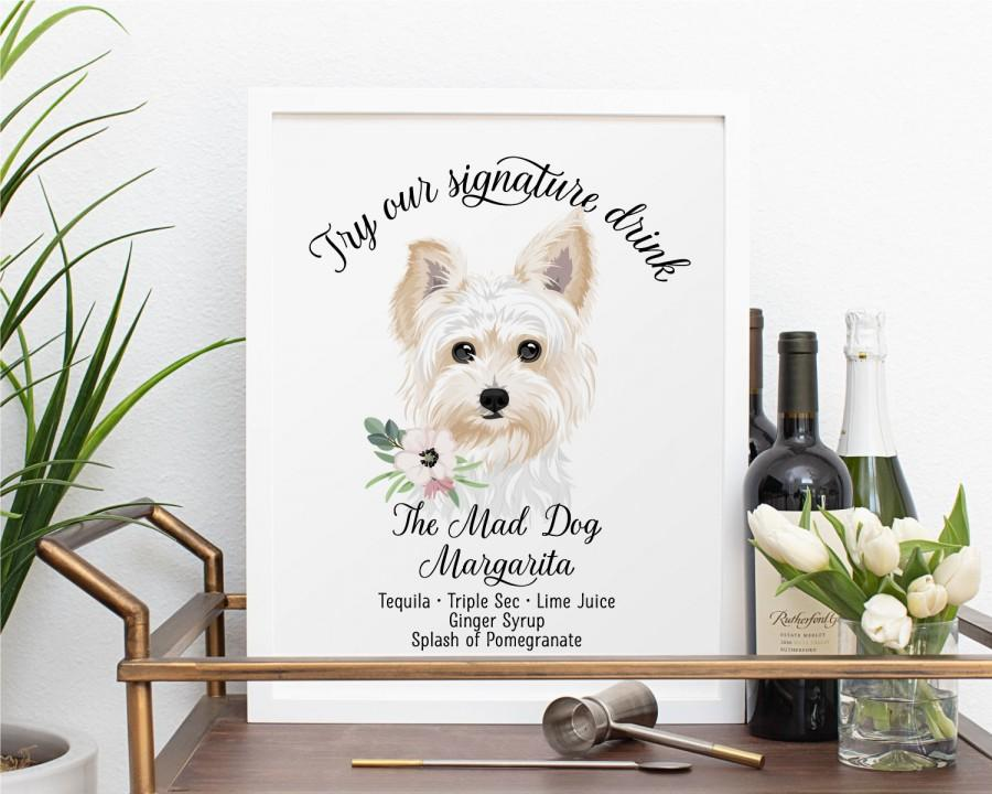 Hochzeit - Signature Cocktail Sign with Pet, Custom Pet Signature Drinks, Wedding Sign for Bar, Drink Sign with Dog, cat sign. DIGITAL FILE ONLY.