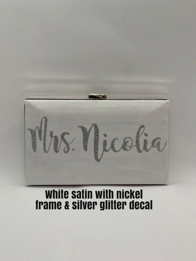 Mariage - White silver Mrs. bridal box clutch / White Satin minaudiere purse/ Bridal shower gift/ Wedding clutch /Gift for her/Personalized box clutch
