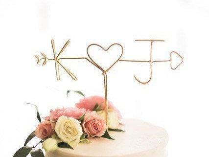 Свадьба - Rustic Cake Topper, Wire Wedding Cake Topper, Rustic Wedding Cake Topper, Personalized Cake Topper, Wedding Cake Topper, Initial Cake Topper