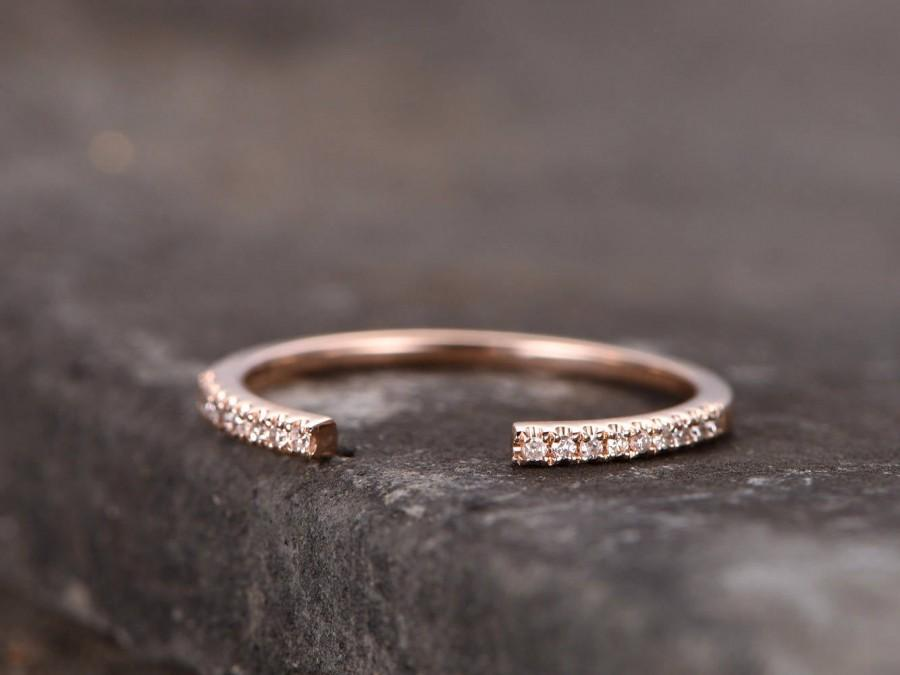 Mariage - Sterling silver ring/Cubic Zirconia wedding band/open gap band//Art Deco Matching band/Half eternity ring/Rose gold plated/Petite Pave