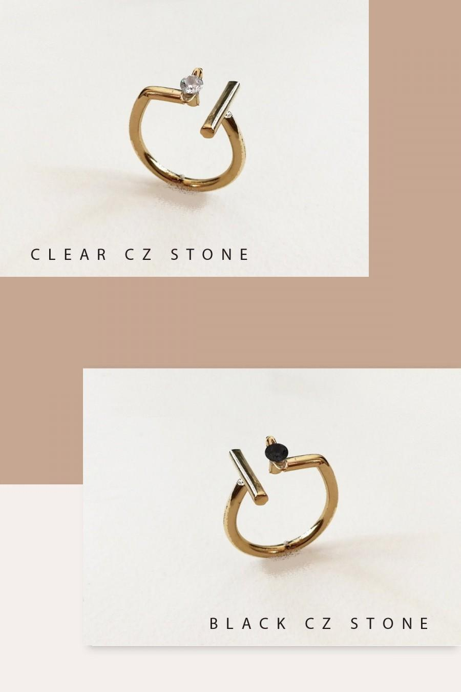 Mariage - Israeli Jewelry, Gold Ring, Adjust Ring, Minimalist Ring, Gemstone Ring, Open Ring, Gold Plated Ring, Geometric Ring, Gold Ring For Women
