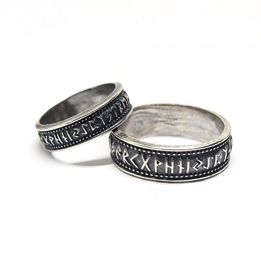 زفاف - Couple Elder Futhark runes rings, Made to Order,  Wedding bands, Viking, Celtic, Nordic , Norse jewelry