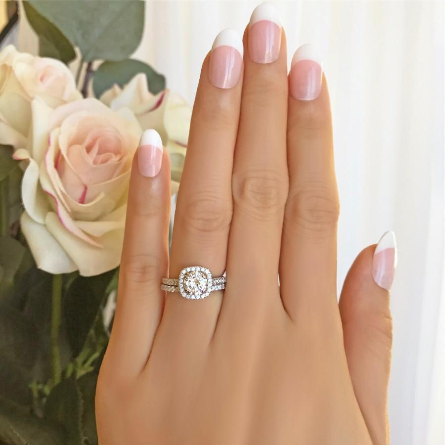Mariage - 1.25 ctw Classic Square Halo Wedding Set, Man Made Diamond Simulant, Half Eternity Bridal Ring, Engagement Ring, Sterling Silver