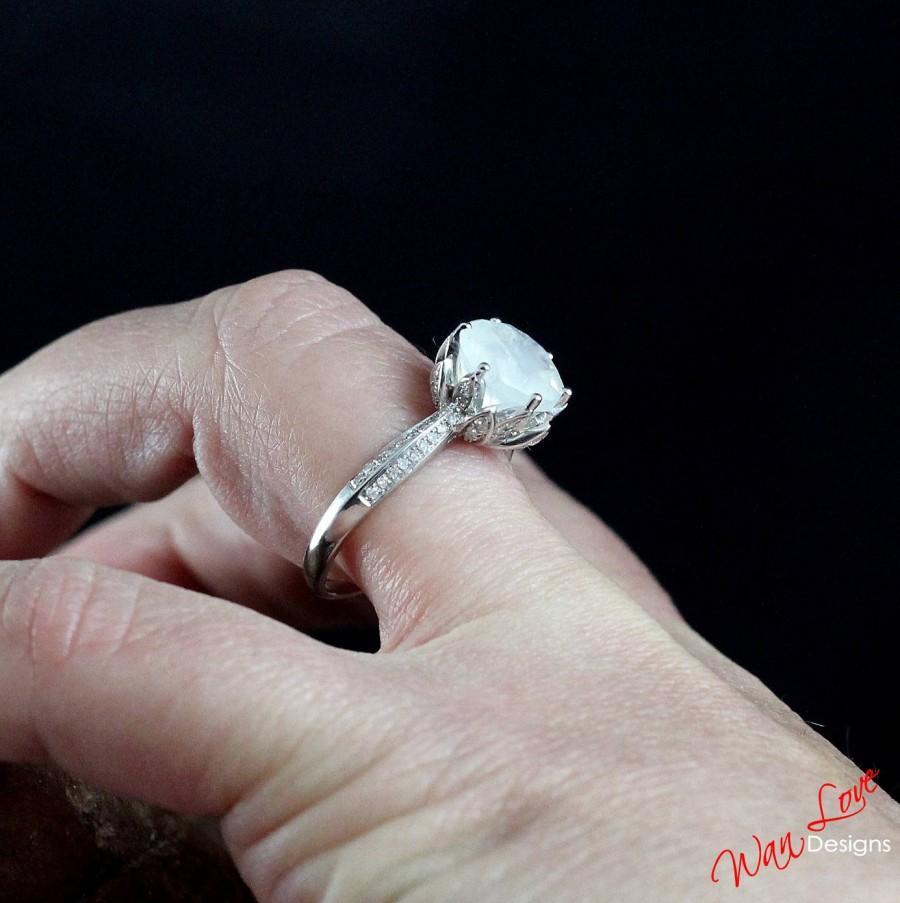 Wedding - Moonstone White Sapphire Lotus Flower Round Engagement Ring, 2ct, 8mm, White Yellow Rose Gold, Platinum, Custom, Wedding,Anniversary,Rainbow
