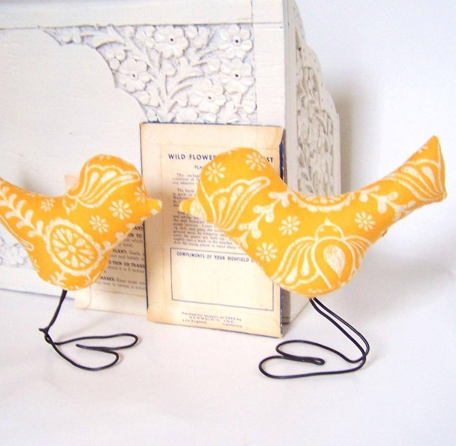 Hochzeit - Birds Sunshine Yellow Summer Love Birds Wedding Cake Toppers and Home Decor, Autumn Wedding, Summer Wedding Cake Topper, Bride and Groom