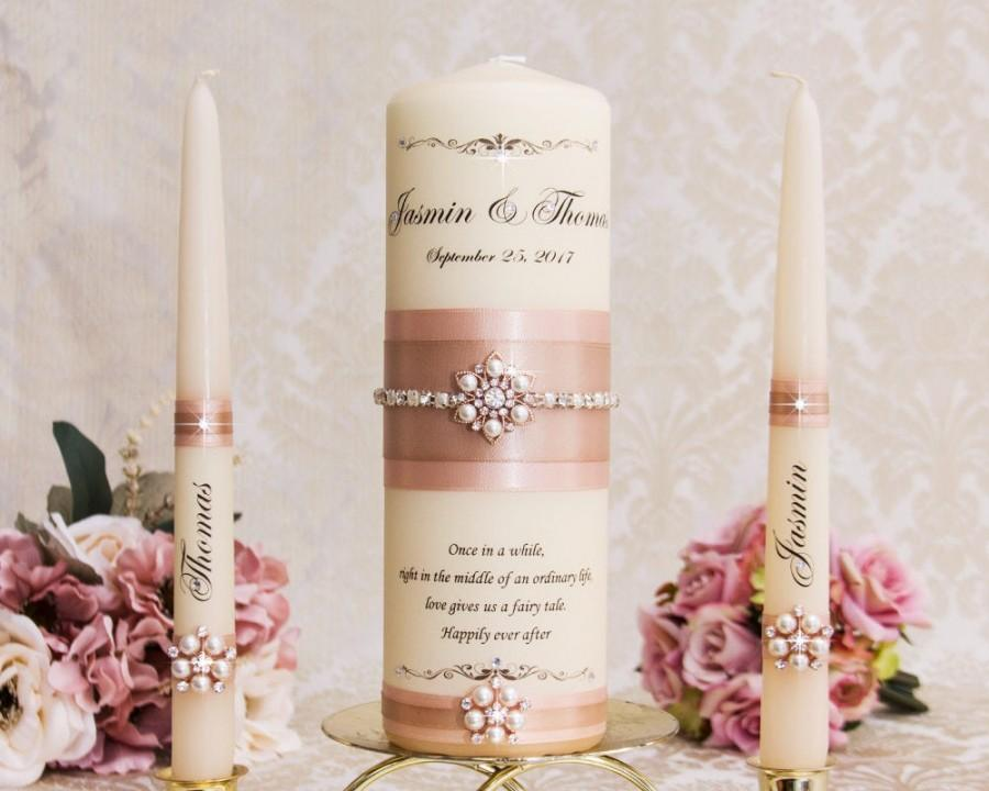 Mariage - Blush  Unity Candle Set, Blush Wedding Unity Candles, Rose Gold Wedding Candles, Personalized Wedding Candles, Bling Wedding Candles