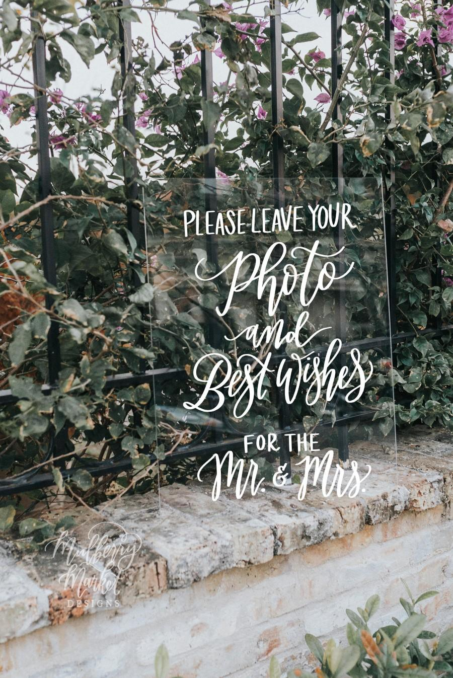 Mariage - Photo and Best Wishes Sign, Acrylic Wedding Sign, 8x10 Guest Book Sign, Rustic Wedding Sign, Vintage Modern Weddings