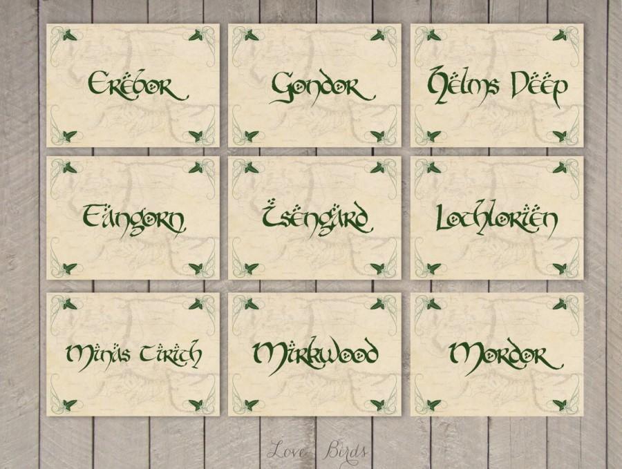 Свадьба - Wedding Hobbit Table Cards - set of 13 - Digital file