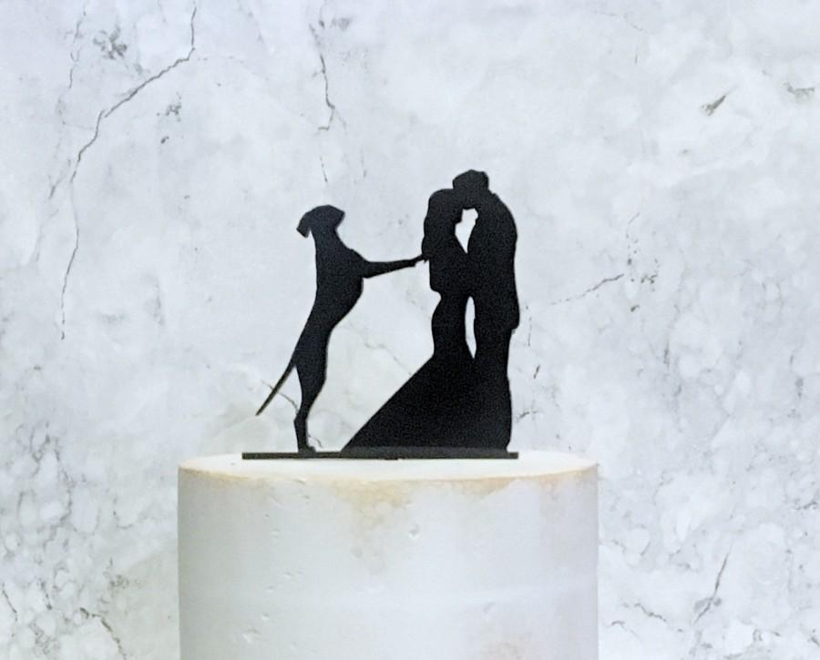 Свадьба - Great Dane Wedding Cake Topper, Silhouette Wedding Cake Topper with Dog, Bride Groom and Dog, Couple Silhouette, Cake Decor