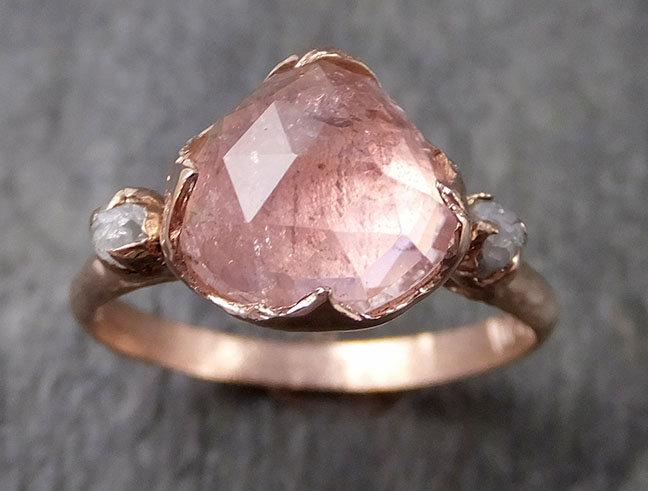 Mariage - Fancy cut Pink Tourmaline Rose Gold Ring Gemstone Multi stone recycled 14k statement Engagement ring 1260
