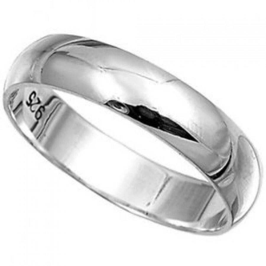 زفاف - Solid 925  Sterling Ring 4mm Band Ring in Sizes G-Z