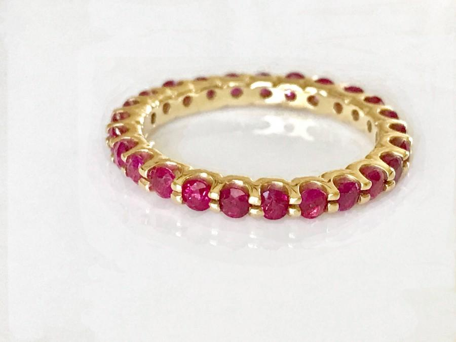 Wedding - Ruby Eternity Wedding Band Ring in 14k Gold, Unique Wedding Bands For Women, Ruby Stackable Ring, Spinel Ring