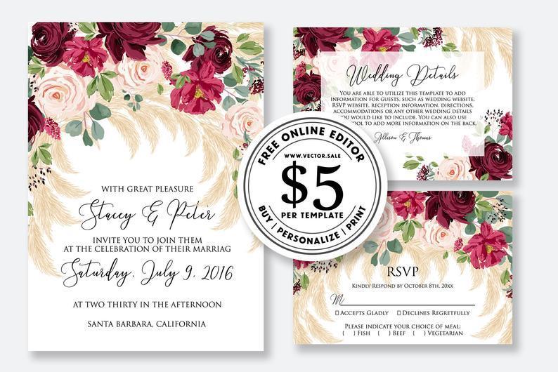 Свадьба - Wedding invitation Marsala peony rose pampas grass greenery digital card template free editable online USD 5.00 on VECTOR.SALE