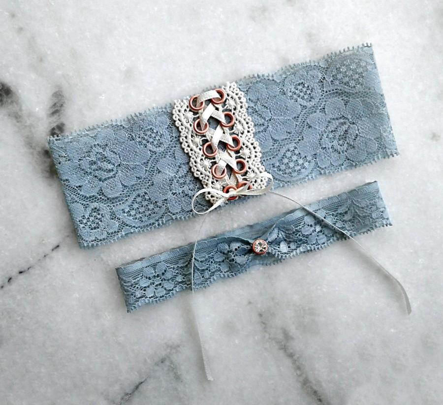 Wedding - Rose Gold Wedding Garter, Dusty Blue Garter Set, Corset Garter, Renaissance Garter, Victorian Garter, Blue and Rose Gold Garter, Lace Garter