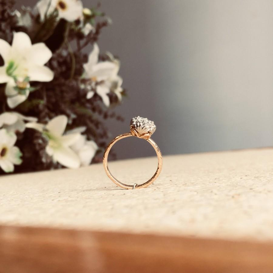 Hochzeit - Unique Floral engagement ring, Flower shape gold promise ring, alternative wedding ring, diamond Jewelry