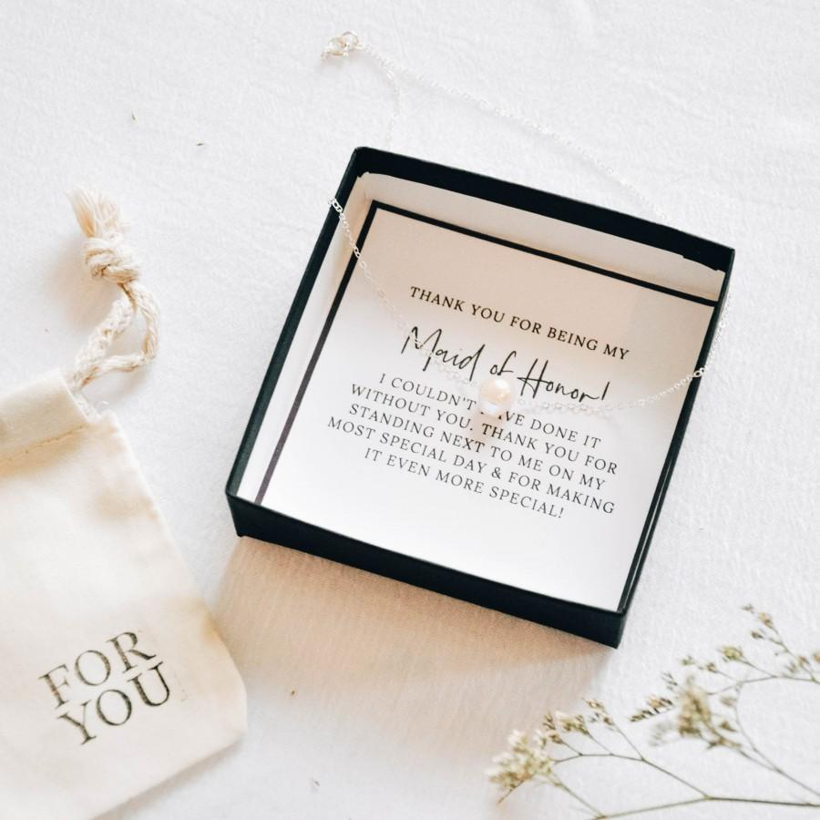 Hochzeit - Thank You for Being My Maid of Honor, Maid of Honor Thank You Gift From Bride, Pearl Necklace