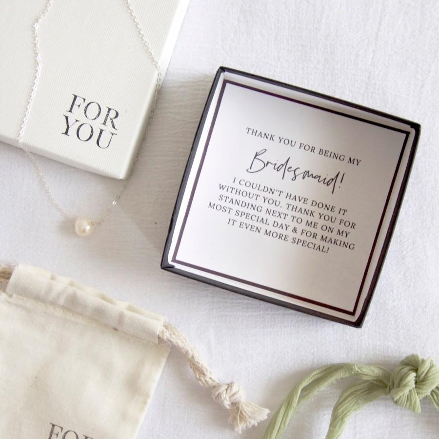 Hochzeit - Bridesmaid Thank You Gift Necklace, Thank You For Being My Bridesmaid