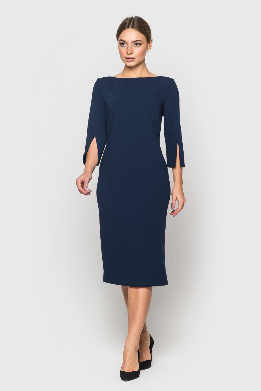 Mariage - Elegant dress AUDREY for every day or business, U-Boat neck and 3/4 long sleeves