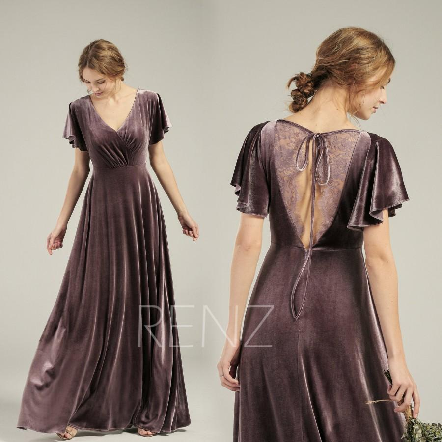 Wedding - Velvet Dress Long V Neck Dark Mauve Velvet Bridesmaid Dress Flare Sleeves Lace Back Prom Dress (HV762)