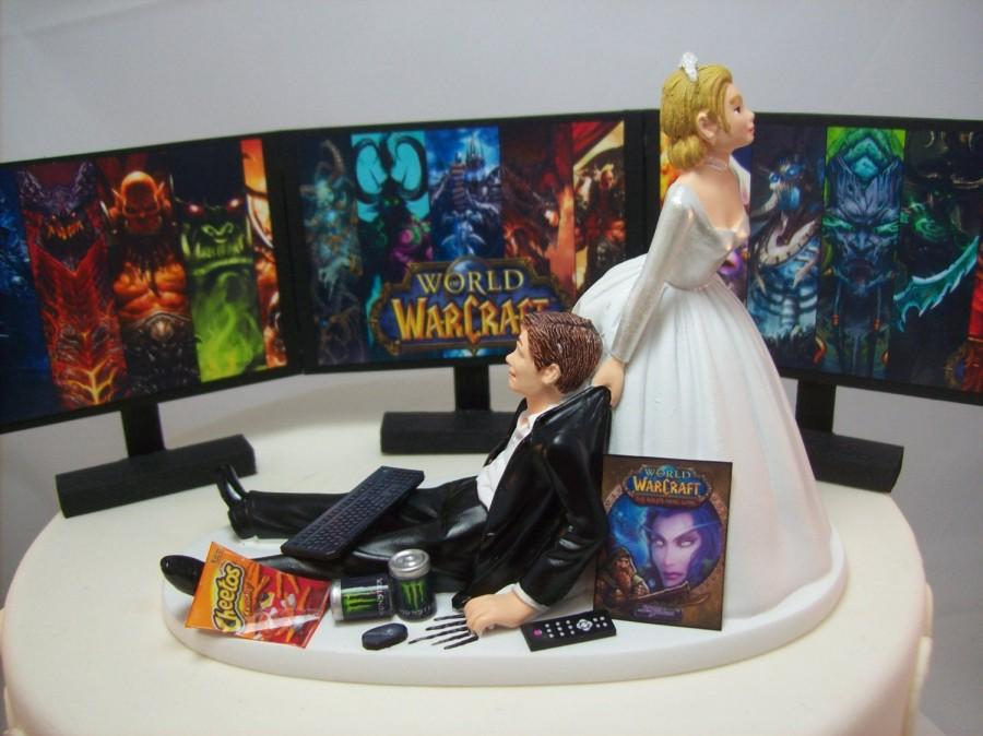 Mariage - Ultimate GAMER Three-way Monitor 3 Split Screen WOW Funny Wedding Cake Topper Video Game Gaming Junkie Addict Charming Rehearsal Groom's