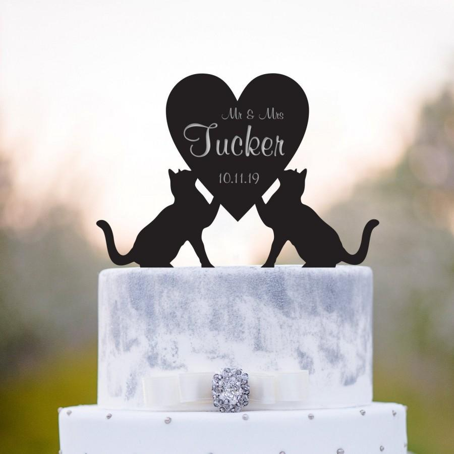 Mariage - Cat wedding topper,Couple cake topper,bride groom topper,last name topper,Mr and mrs wedding cake topper,surname topper,cake topper date,a89