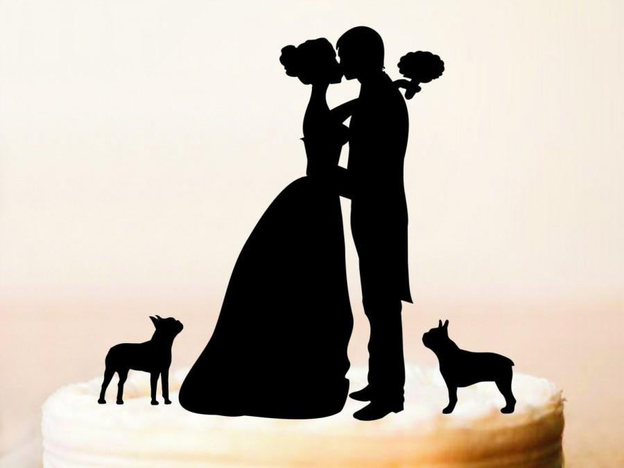 Hochzeit - Wedding cake toppers with dogs,Mr and Mrs cake topper + dogs,Silhouette cake topper with two dogs,dogs Silhouette,Wedding cake topper (0167)