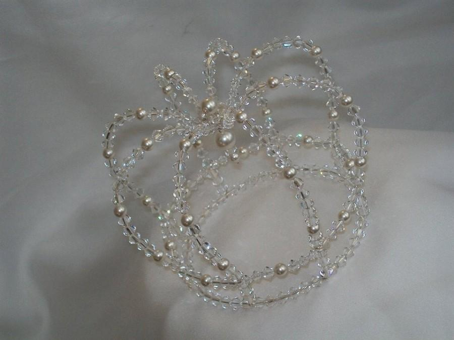 Mariage - Swarovski crystal and pearl fairytale crown cake topper