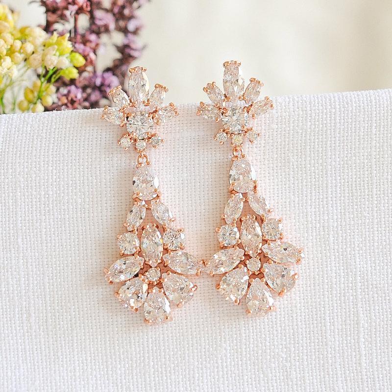 Mariage - Rose Gold Wedding Earrings, Bridal Earrings, Crystal Dangle Drop Earrings, Wedding Bridal Jewelry, Gold,Silver, Chandelier Earrings, YASMINE