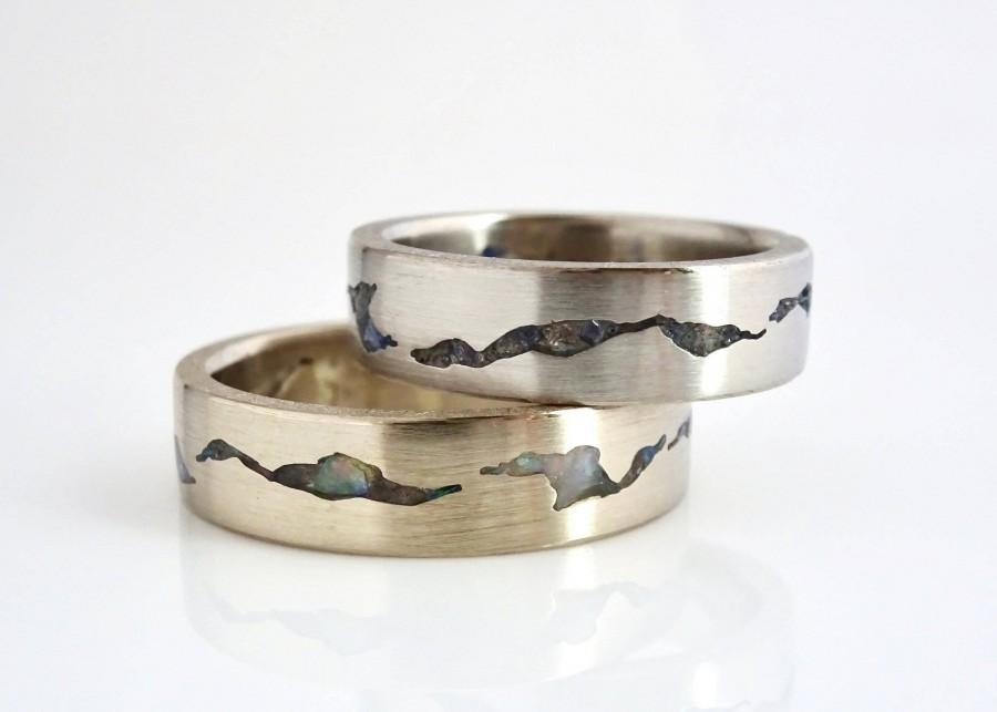 Свадьба - Glacier Ring Set, 6mm Bands, Gemstone Inlay Rings, Matching Wedding Bands, Custom Mountain Rings, Platinum Wedding Rings, Wedding Ring Set