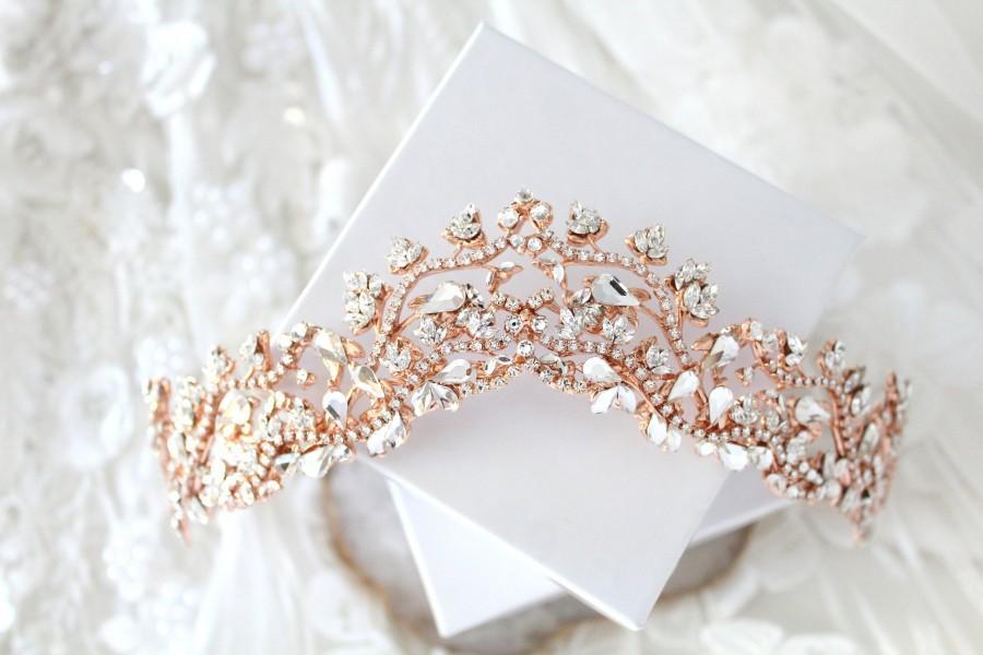 Wedding - Rose gold Bridal Tiara Crown Wedding hair accessories Swarovski crystal tiara Rose gold leaf wedding crown Rose gold headband headpiece