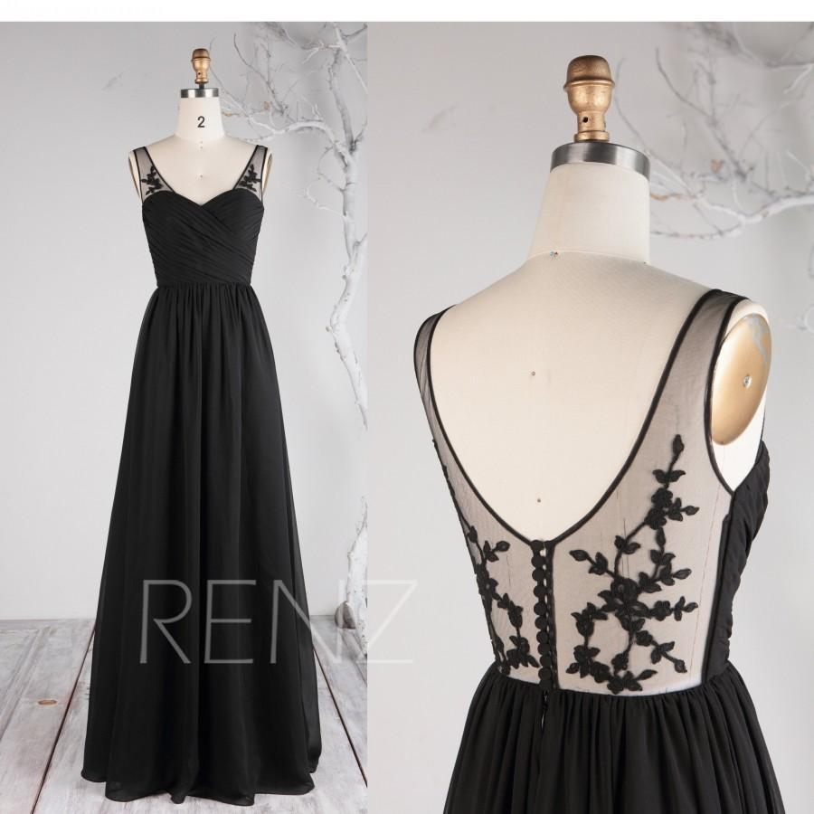 Wedding - Party Dress Black Chiffon Dress Bridesmaid Dress Illusion Lace Open Back Wedding Dress Ruched Sweetheart Maxi Dress A-line Prom Dress(L495)