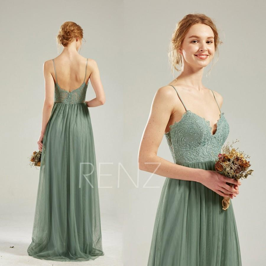Wedding - Boho Wedding Dress Green Bohemian Bridesmaid Dress Lace Long Prom Dress with Spaghetti Straps (HS812)