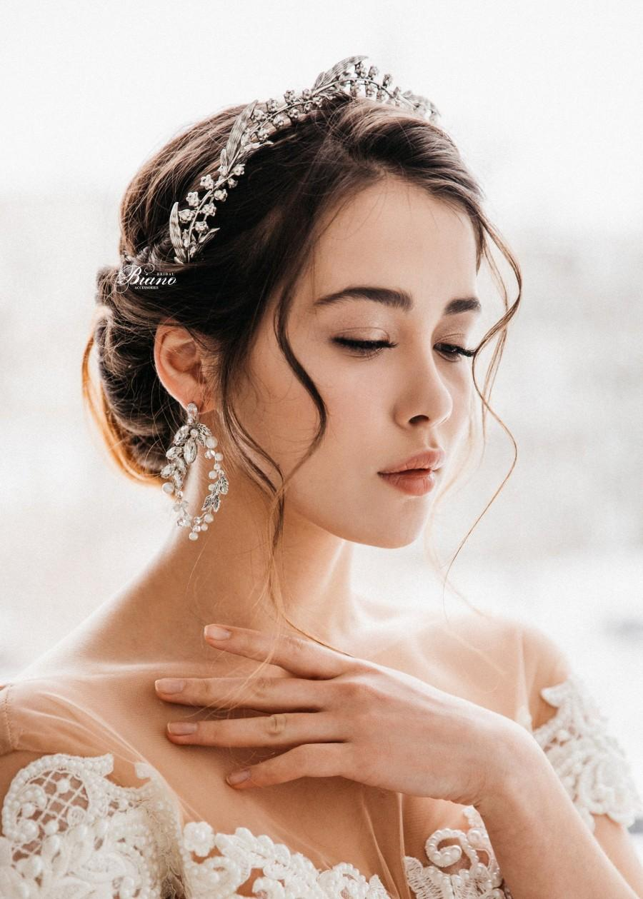 Свадьба - Bridal Silver Tiara, Wedding Leaf Tiara, Wedding Crown, Wedding Hair Accessory, Wedding Headpiece, Bridal Hair Halo, Ready to ship - NAOMI