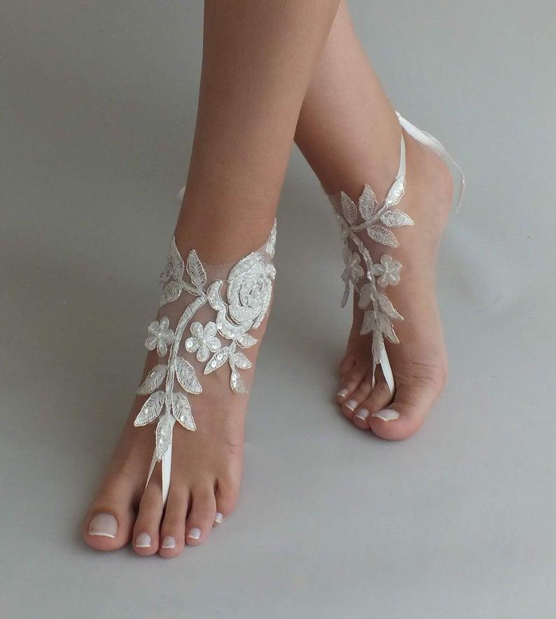 زفاف - 24 Color lace Barefoot sandals Beach wedding, barefoot sandals wedding shoes beach shoes bridal accessories beach bride bridesmaid gift