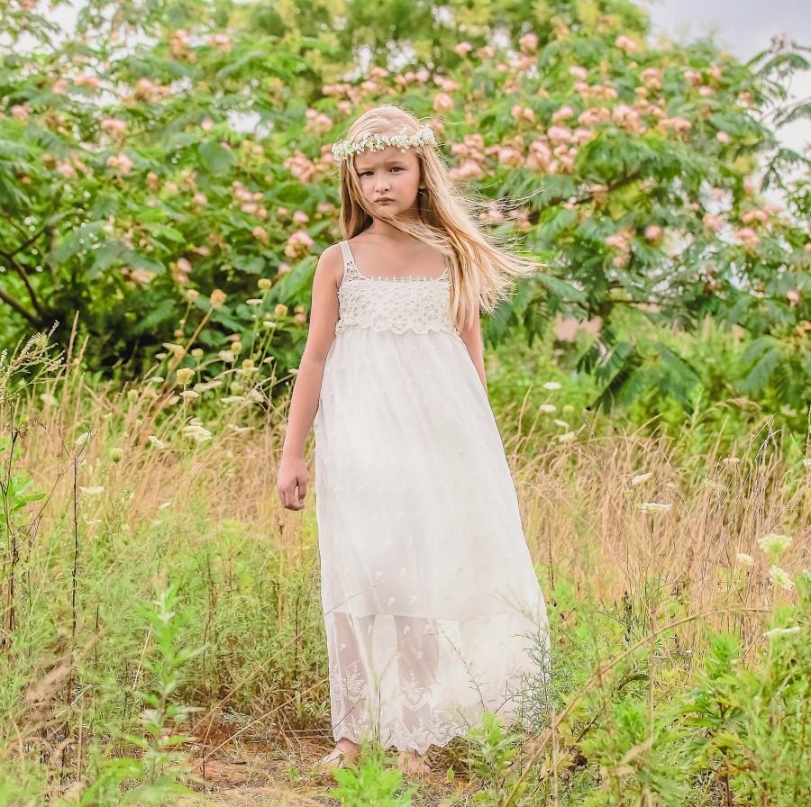 Свадьба - Lace Flower Girl Dress white flower girl dress girls lace dress lace dress toddler lace dress boho flower girl dress flower girl dress