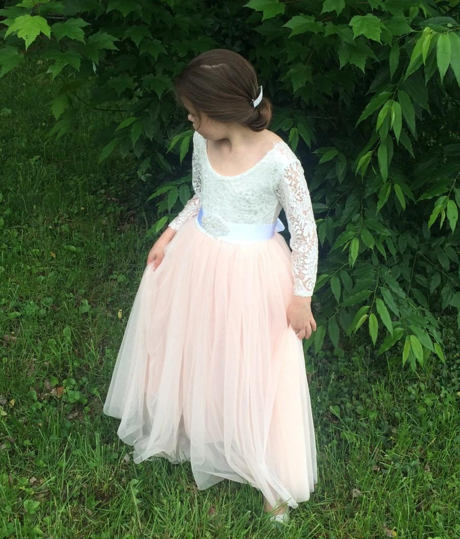Mariage - Tulle flower girl dress White lace flower girl dress Long sleeve flower girl dress Birthday dress Boho flower girl dress Princess Rustic