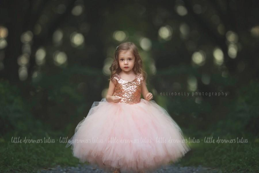 Свадьба - The Juliet Dress - Blush Sequin Bodice and Blush Tulle - Flower Girl Dress