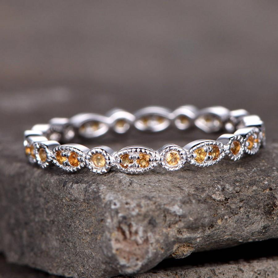 Свадьба - Eternity band Citrine Wedding ring Sterling silver ring for women Art Deco Style Dainty stackable ring Matching band White gold plated