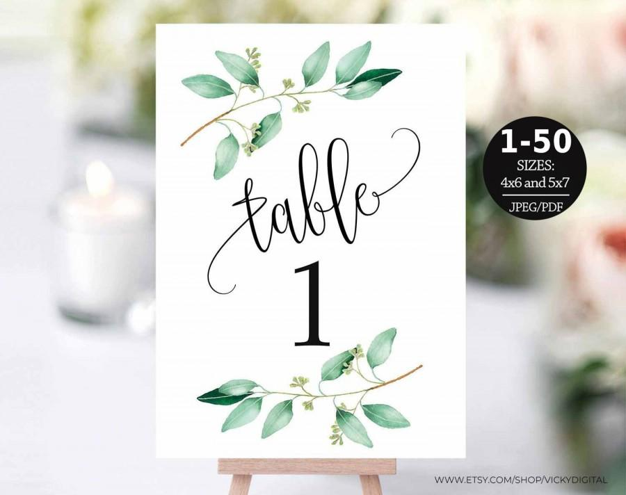 Hochzeit - Table Number Template, Table Numbers, Printable Table Numbers, Table Numbers 1-50, Calligraphy, 4x6, 5x7, PDF Instant Download